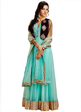 Turquoise Jacket Style Ankle Length Anarkali Suit