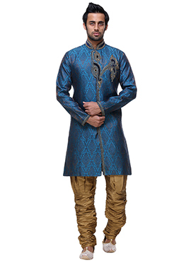 Turquoise N Blue Breeches Sherwani