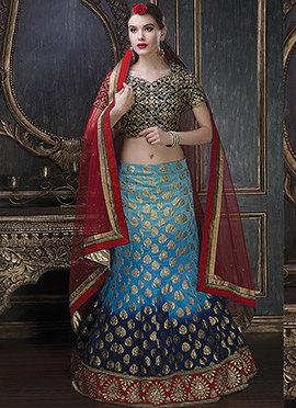 Turquoise N Dark Blue A Line Lehenga Choli