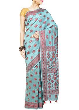 Turquoise N Red Art Silk Assam Saree