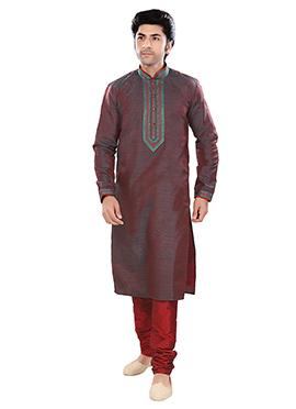 Turquoise N Red Art Silk Designed Kurta Pyjama