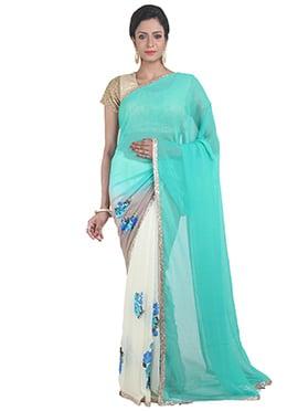Turquoise N White Half N Half  Saree