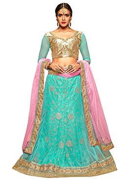 Turquoise Net A Line Lehenga Choli