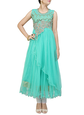 Turquoise Net Anarkali Suit