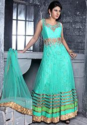 Turquoise Net Ankle Length Anarkali