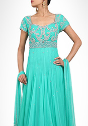 Turquoise Net Floor Length Anarkali Suit