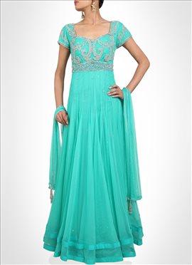Turquoise Net Floor Length Anarkali Suit