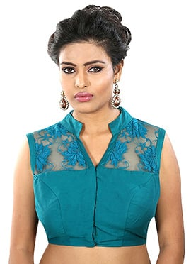 Turquoise Blue Readymade Blouse
