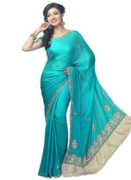 Turquoise Satin Embellished Saree
