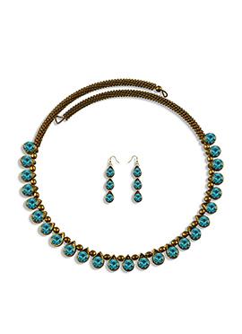 Turquoise Stone Enhanced Choker Necklace Set