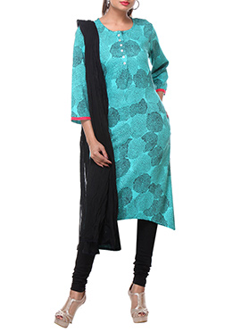 Turquoise Viscose Printed Churidar Suit