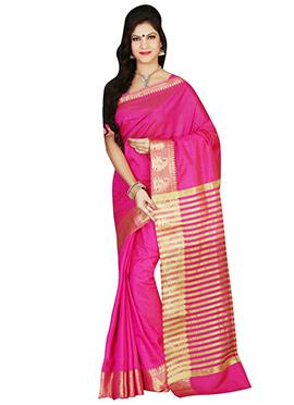 Tussar Silk Magenta Pink Border Saree