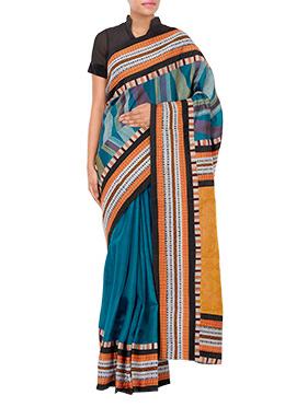 Tvaksati Blue Tussar Silk Saree