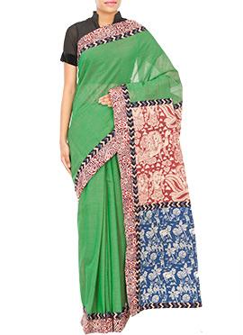 Tvaksati Green Kalamkari Saree