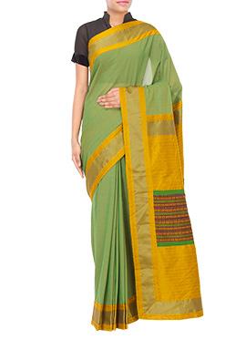 Tvaksati Green N Yellow Kora Silk Saree