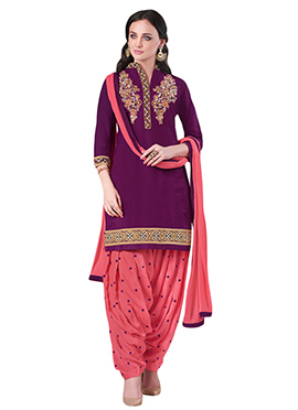 Tyrian Purple Embroidered Patiala Suit