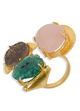 Unique Style Stone Studded Golden Color Ring