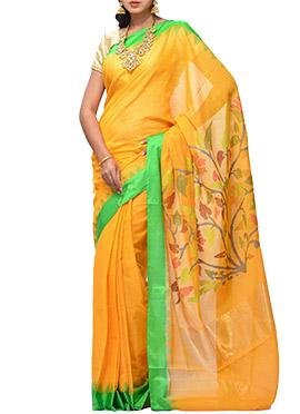 Uppada Light Mustard Yellow Khadi Saree