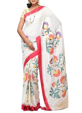 Uppada Off White Floral Patterned Khadi Saree