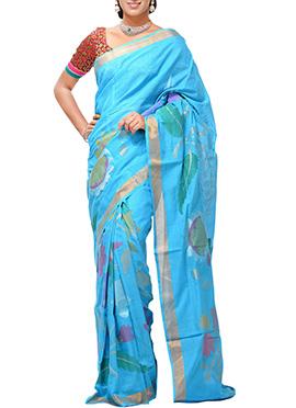 Uppada Sky Blue Khadi Saree