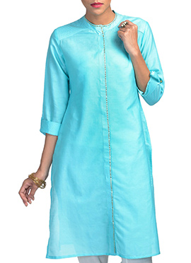 Uptown Galeria Turquoise Silk Cotton Kurti