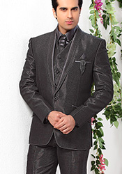 Urbane Grey Lapel Style Suit