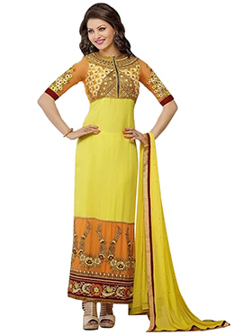 Urvashi Rautela Yellow Georgette Pakistani Suit