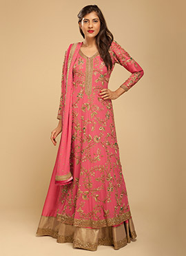 Vemanya Dark Pink Long Choli Lehenga
