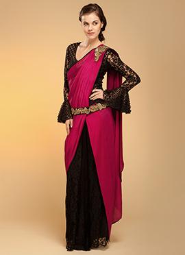 Vemanya Embroidered Dark Pink N Black Beauty Saree