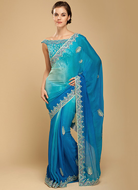Vemanya Embroidered Double Shaded Ocean Blue Saree