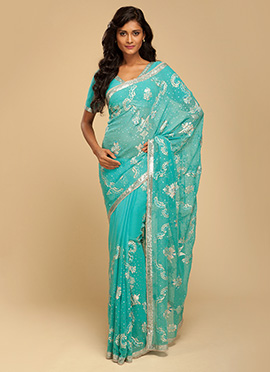 Vemanya Embroidered Ocean Blue Pitta Saree