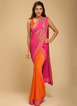 Vemanya Embroidered Orange N Peony Pink Saree