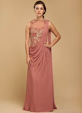 Vemanya Embroidered Peach Saree Gown