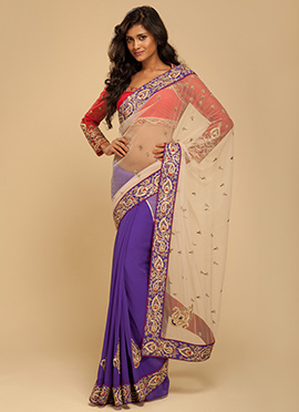 Vemanya Half And Half Purple And Champagne Saree