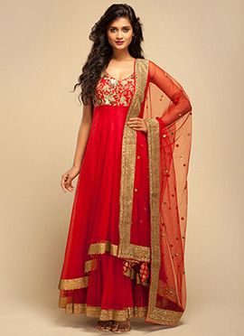 Vemanya Red Anarkali Suit