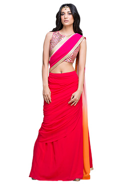 Vemanya Red Pure Georgette Saree