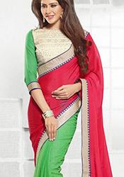Vibrant Green N Pink Half N Half Saree
