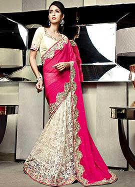 Vibrant Off white N Pink Half N Half Saree