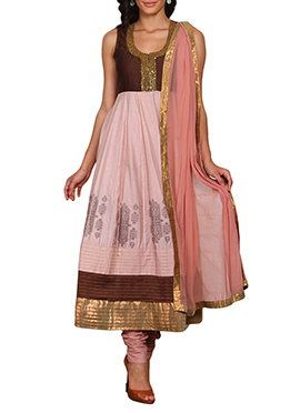 Vijay Balhara Brown N Pink Anarkali Suit