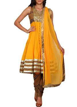 Vijay Balhara Dark Yellow Anarkali Suit