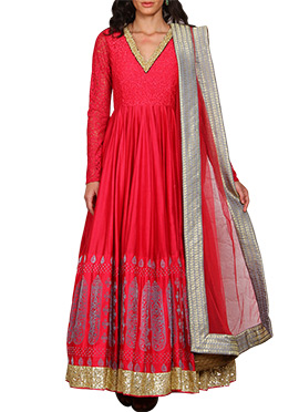 Vijay Balhara Red Ankle Length Anarkali Suit