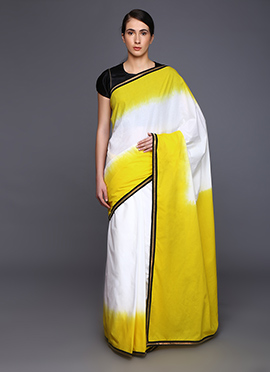 Vijay Balhara Yellow N White Cotton Saree