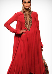 Vikram Phadnis Red Art Silk Asymmetrical Anarkali