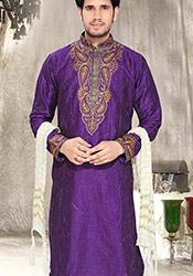 Violet Art Silk Kurta Pyjama