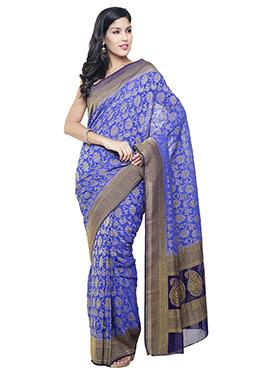 Violet Blue Silk Saree