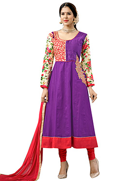 Violet Cotton Anarkali Suit