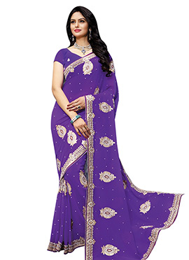 Violet Embroidered Saree
