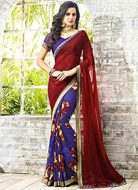 Violet N Red Georgette Half N Half Saree