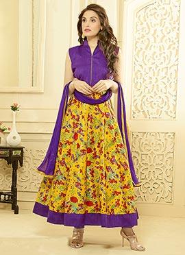 Violet N Yellow Ankle Length Anarkali Suit