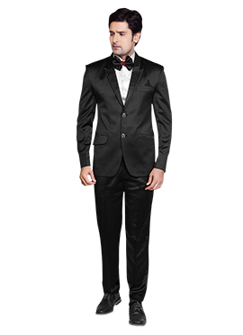 Viscose Lapel Style Black Suit